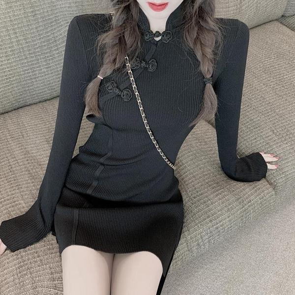旗袍洋裝 復古少女日常改良旗袍連身裙女新款氣質修身顯瘦開叉長袖針織裙女