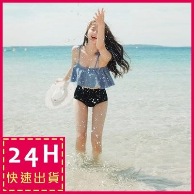 梨卡★現貨 - 天使微笑 [鋼圈+露肩一字領] 二件式比基尼 - 甜美荷葉邊綁帶高腰泳衣泳裝C800