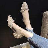 尖頭單鞋女2019春秋款新款粗跟時尚百搭韓版低跟平底鞋子淺口女鞋