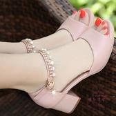 新款粗跟涼鞋女夏季中跟魚嘴高跟鞋大尺碼百搭女鞋潮 【快速出貨】