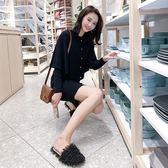 VK精品服飾 韓系針織顯瘦斗篷披肩氣質套裝長袖裙裝