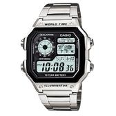 【CASIO】十年之旅世界城市電子錶-銀(AE-1200WHD-1A)