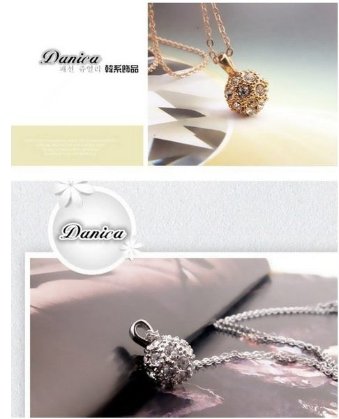 項鍊 現貨 韓國氣質奢華 立體3D魔球水鑽 項鍊(2色) S2286 批發價 Danica 韓系飾品 韓國連線