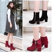 2020春新款中筒靴高跟短靴女粗跟中跟英倫女靴圓頭側拉錬馬丁靴 美芭