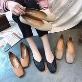 2018韓版春季新平底單鞋女鞋方頭平跟豆豆鞋