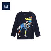 Gap男幼童 可愛恐龍圖案圓領長袖套頭T恤522850-藏青色