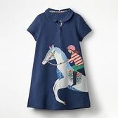 歐美外貿童裝夏季純棉女童連衣裙短袖小馬繡花洋氣翻領A字POLO裙 幸福第一站