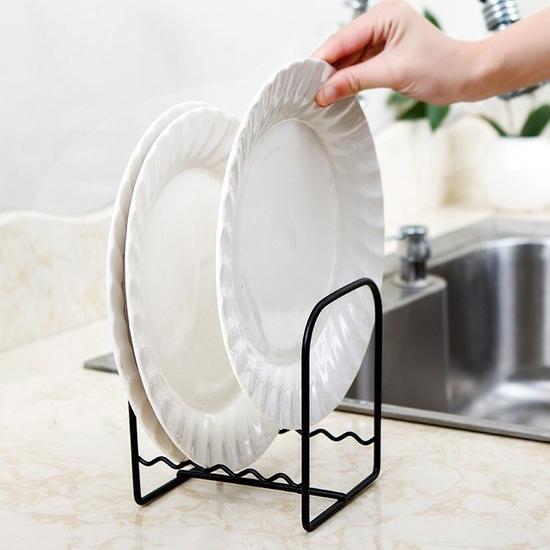 鐵藝碟盤收納瀝水架 清潔 衛生 砧板 菜盤 桌面 瀝乾 鏤空 清洗 托盤 置物 米菈生活館【L071-2】