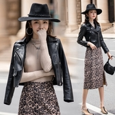 皮衣外套女秋冬炸街高級感百搭短款機車服PU皮夾克外套女NA19D快時尚