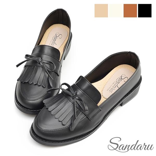 樂福鞋 紳士風格蝴蝶結流蘇軟底低跟鞋-黑