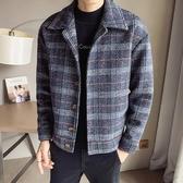 2020秋冬季新款短款風衣男韓版潮流帥氣寬松毛呢大衣休閒格子外套 快速出貨