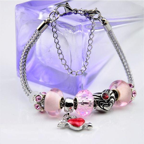淡雅粉紅桃心鑲鑽琉璃水晶手鍊  (0385)