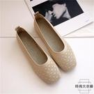 淺口平底鞋軟底方頭針織透氣豆豆鞋編織孕婦鞋單鞋【時尚大衣櫥】