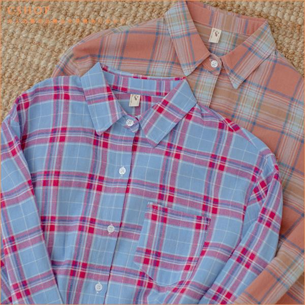 襯衫 沁夏防曬配色格紋棉麻襯衫.罩衫 二色-小C館日系