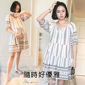 孕婦裝 MIMI別走【P52669】我的小旅行 優雅民族風連衣裙 洋裝