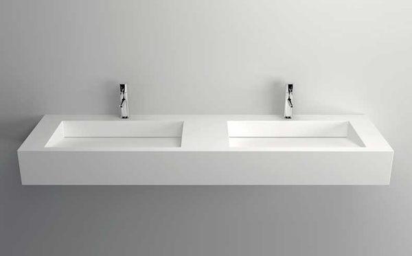 【麗室衛浴】精緻人造石一體成型檯面盆  檯上盆 雙盆 10158 尺寸1520x450x150mm