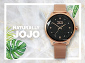 【時間道】NATURALLY JOJO  時尚個性切割鏡面腕錶 / 黑面玫瑰金米蘭帶(JO96912-88R)免運費
