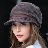 秋冬季兔毛針織毛線帽子女韓版潮百搭青年時尚護耳鴨舌貝雷帽新款