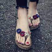 新款沙灘鞋拖鞋夏海邊防滑外穿厚底夾腳涼拖