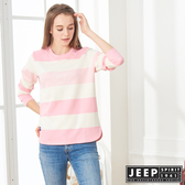 【JEEP】女裝 簡約LOGO條紋長袖TEE (粉色)