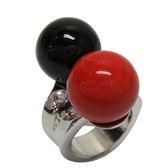 Dior 迪奧 紅色X黑色圓珠造型鑲水鑽戒指 【二手名牌BRAND OFF】