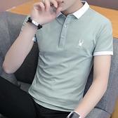 潮流韓版襯衫領短袖POLO衫新款有帶領短袖T恤男翻領衣服 秋季新品