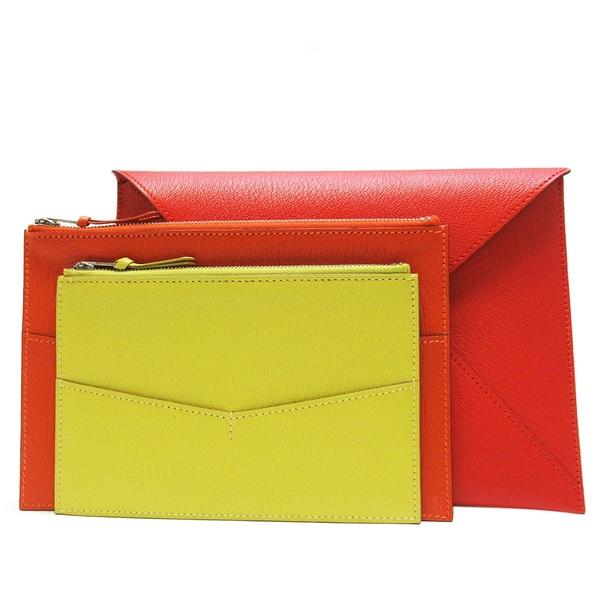 HERMES 愛馬仕 Envelope Trio Wallet 紅橘黃三色山羊皮三件式錢包 手拿包   BRAND OFF