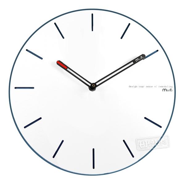 12吋簡約時尚現代居家 清新百搭 北歐風 無印風 餐廳客廳臥室 靜音 圓掛鐘 - 白藍色 #832COVQN-C553