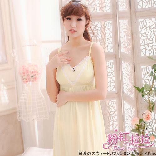 粉紅拉拉*【PB030534】舒適、柔軟、親膚。莫代爾材質x細肩帶(附胸墊)連身裙居家服/睡衣。黃色