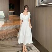 短袖洋裝-方領簡約桔梗裙大碼女連身裙2色74az19[巴黎精品]