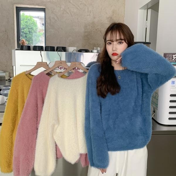 出清388 韓國慵懶風馬海毛百搭寬鬆毛衣針織衫長袖上衣