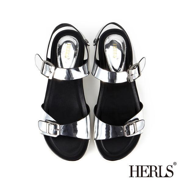 涼鞋-HERLS 街頭時尚 金屬飾釦質感涼鞋-錫箔色