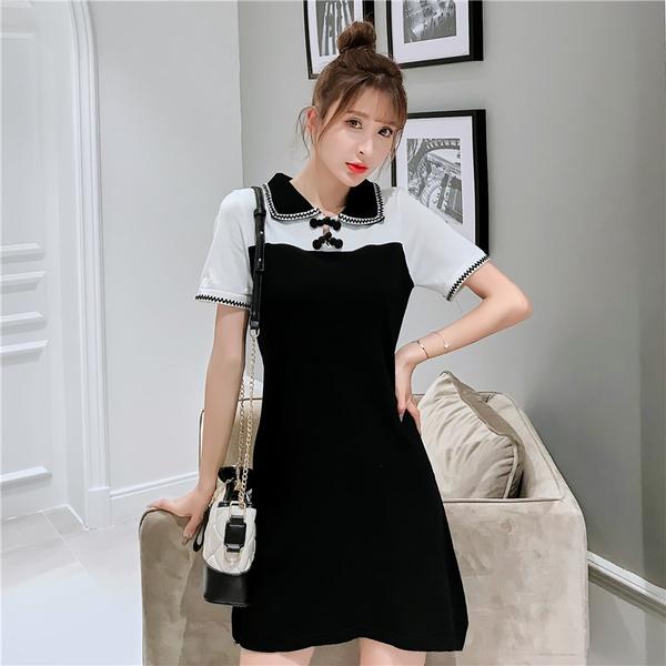 超殺出清 韓國風黑白撞色翻領針織短袖洋裝
