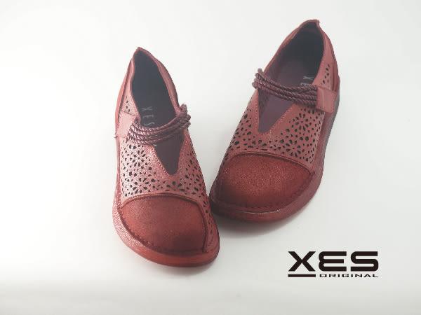 XES 線圈魔鬼氈真皮軟Q 簍空雕花鞋 優質時尚 女款 紅色