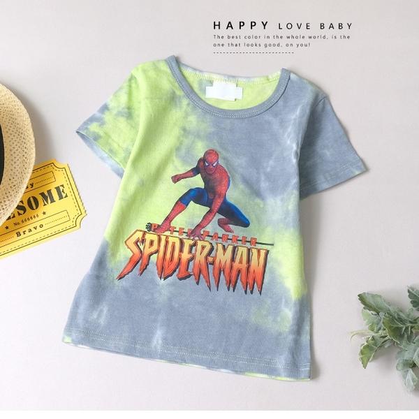 美式渲染漸層蜘蛛人短T 春夏童裝 男童棉T 男童上衣 男童短袖 男童T恤