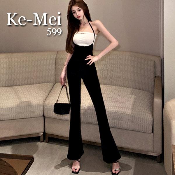 克妹Ke-Mei【ZT67320】Model名模潤派顯大長腿吊頸喇叭吊帶褲