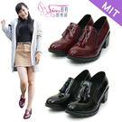 短靴.台灣製MIT.流蘇亮皮粗跟踝靴.黑...