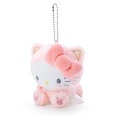 〔小禮堂〕Hello Kitty 絨毛玩偶娃娃吊飾《粉》鑰匙圈.掛飾.變裝貓咪系列 4901610-24460