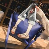 現貨-托特包 大包包女潮大容量手提側背包韓版尼龍布百搭斜背包托特包8-22新年禮物
