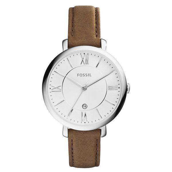 FOSSIL 網羅質感日期時尚腕錶-白x淺褐皮帶