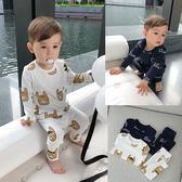 嬰童裝春裝寶寶的睡衣印花長袖長褲套裝2歲兒童男童家居服禮物限時八九折