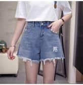 中大尺碼L-4XL韓版牛仔短褲大碼牛仔短褲女夏韓版顯瘦寬鬆闊腿熱褲R26-8970