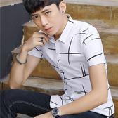 短袖條紋襯衫 夏季男韓版休閒條紋印花潮流襯衣《印象精品》t418