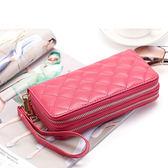 長夾 菱格紋 雙層拉鍊 錢包 卡包 手拿包 長夾【CL8343】 ENTER  01/04