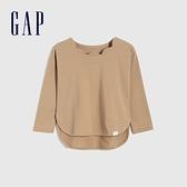 Gap女幼童 純棉花朵領長袖T恤 704223-駝色