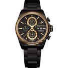 elegantsis Fashion 領先風範三眼計時腕錶-黑x金/45mm ELJT42R-6B04MA