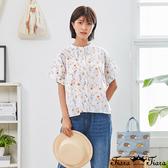 【Tiara Tiara】百貨同步新品aw 滿版印花開襟襯衫(白/深藍)