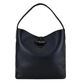 【南紡購物中心】LONGCHAMP ROSEAU系列金屬竹節卵石紋牛皮單肩包(黑)