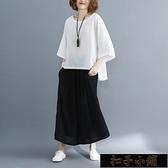 大碼女裝腰粗遮肚子遮肉套裝顯瘦減齡洋氣棉麻t恤時尚時髦11-13【雙十一狂歡】