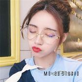 珍珠平光眼鏡男女韓版潮復古簡約防藍光防輻射優雅眼鏡框